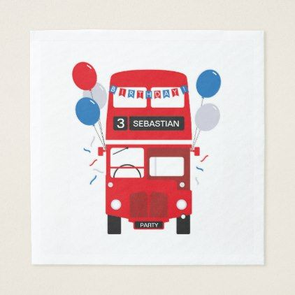 London Red Bus Personalised Birthday Paper Napkin