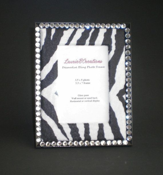 zebra print bling picture frame w clear by lauriebcreations
