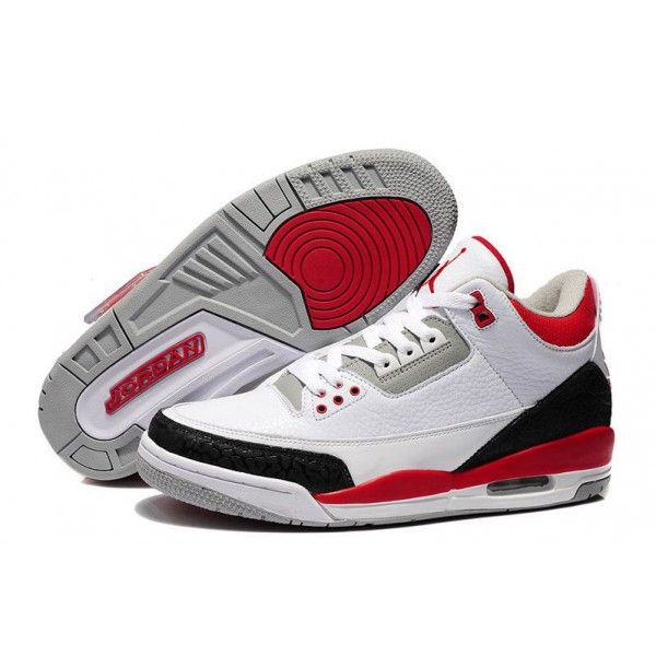 low cost air jordan 3 white fire red cement grey retro basketball shoes  authentic jordan website