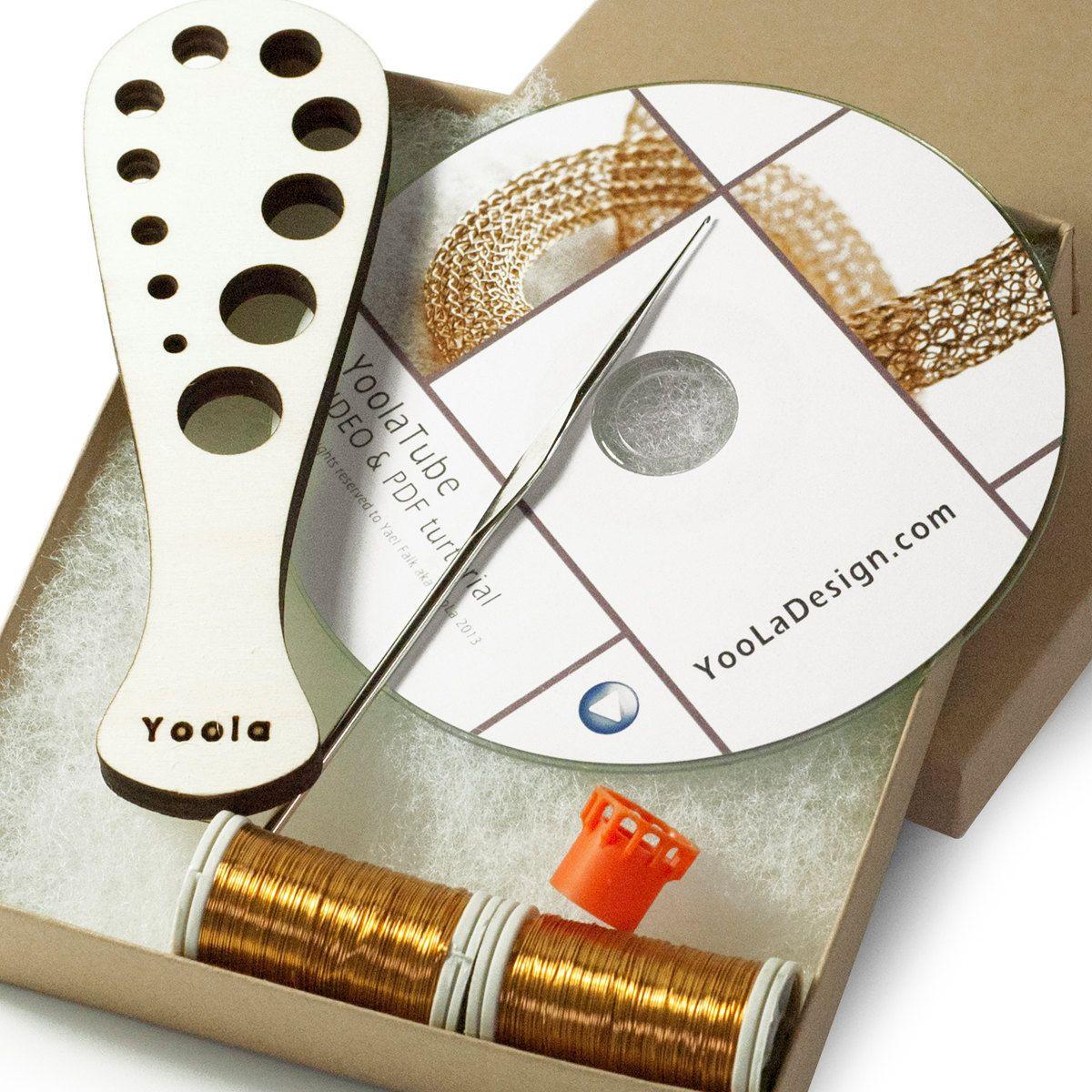 KIT  VIDEO kit for crochet wire gold necklace YoolaTube от Yoola, $62,00