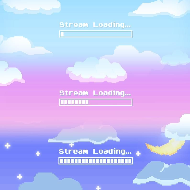 Animated Cute Pixel Sky Stream Loading Screen Etsy In 2020 Streaming Pixel Animation