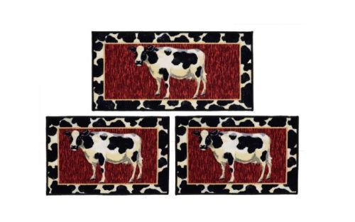 Cow 3 Piece Rug Set Kitchen Mat Non Skid Sink Farm Country Throw Home Decor Cow3piecerugset Classic Rug Sets Country Cow Rugs On Carpet