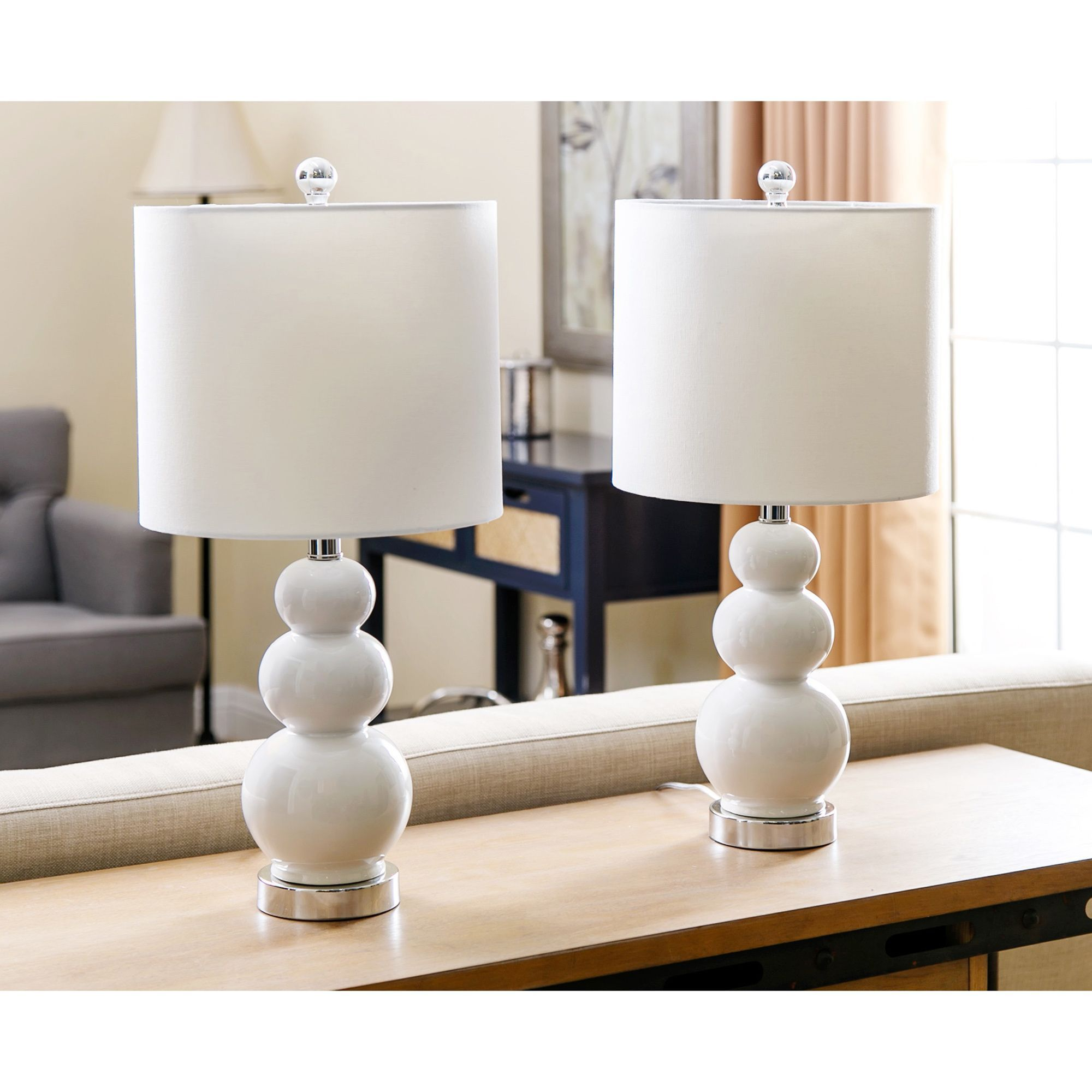 Camden Gourd White 20inch Table Lamp (Set of 2) By