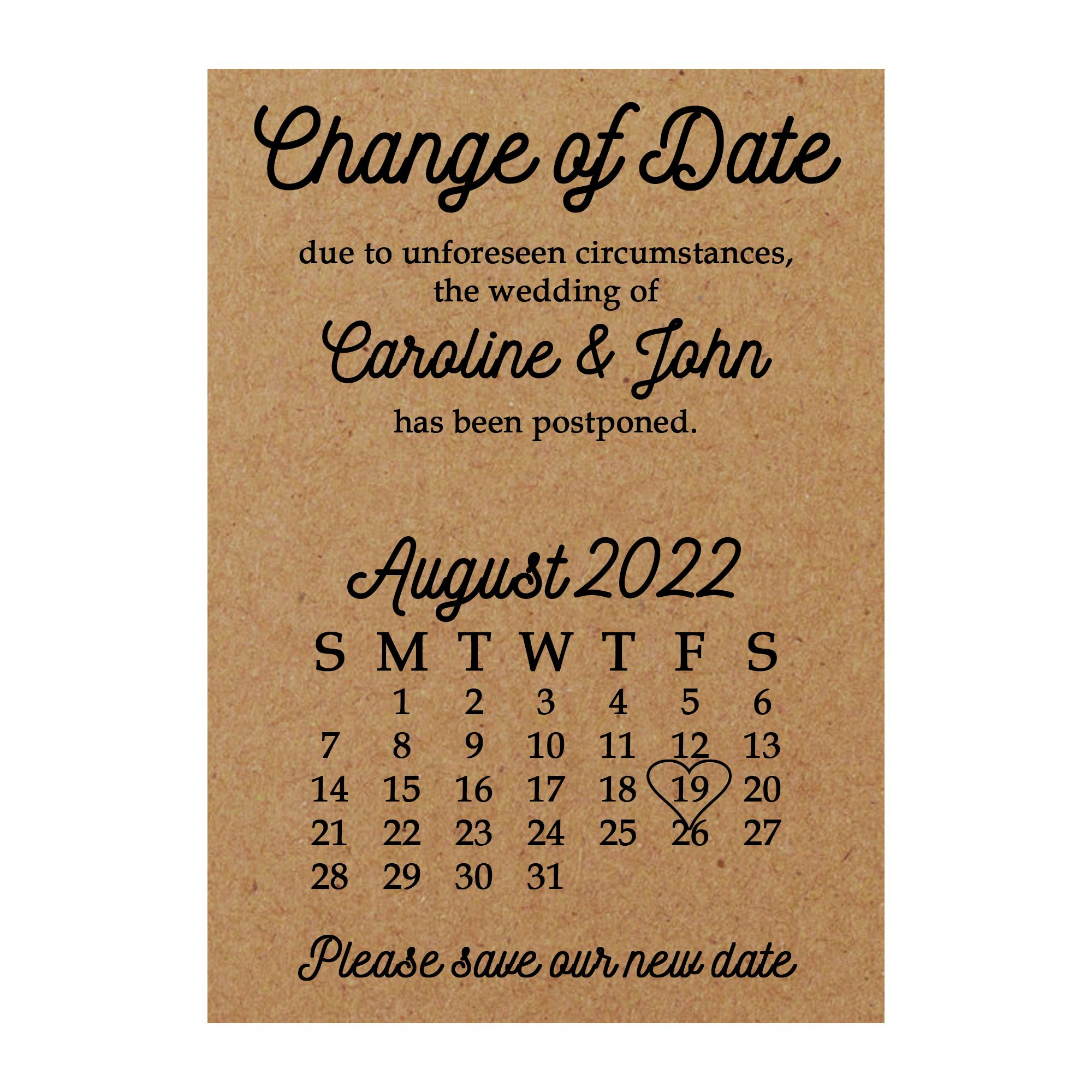 Photo of Recycled Brown Kraft Calendar Change of Date Cards