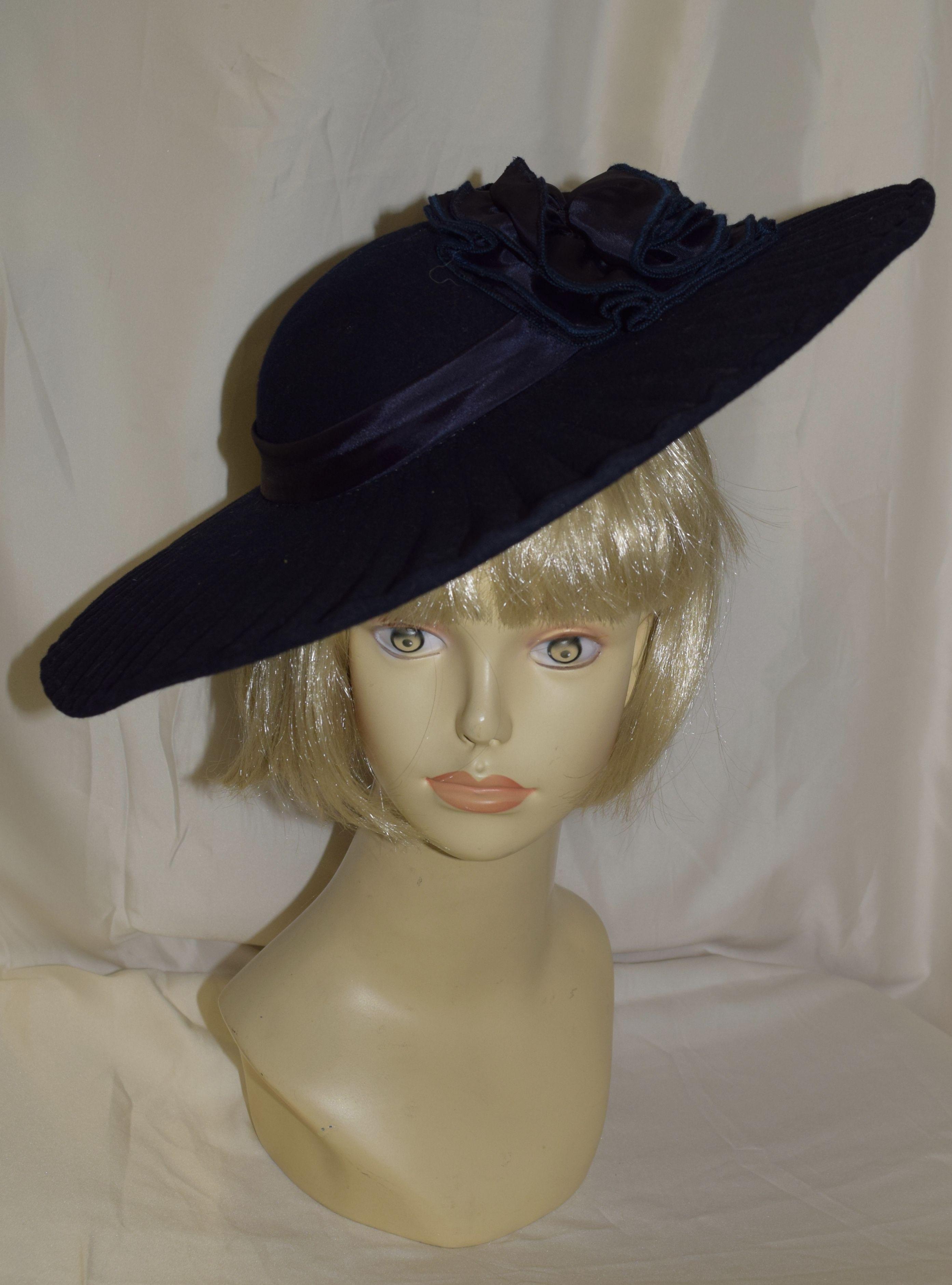 d87efa1aca3 Vintage Sylvia New York Navy Blue Velvet Wide Brim Fancy Summer Hat ...