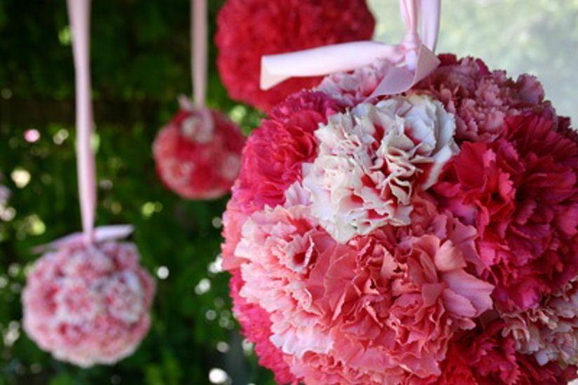 Carnation Pomander balls  8 inch ball=120 carnations  6 inch=75  4.5 inch=50  3 inch=25