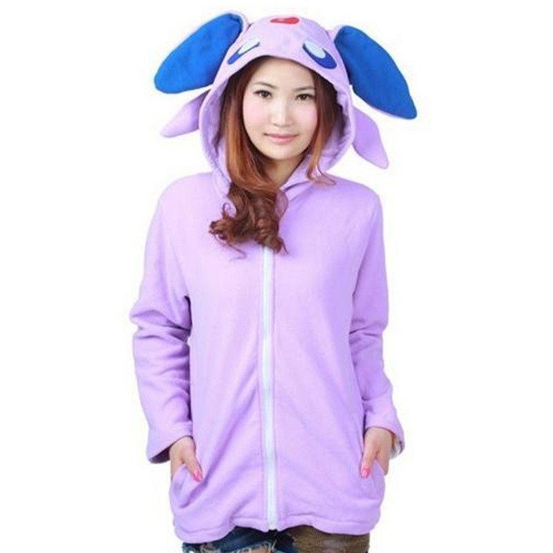 Anime Unicorn Pokemon Umbreon fleece Shiny Umbreon Women Men Zip Hoodie  with Ears Tails Cosplay Hoody Hooded Sweatshirt 58ae55f706