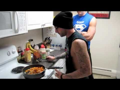Hot guys and healthy food. Meet Shrednation2012. I'm in love. This video is for Buffalo Chicken Omelets and Sweet Potato Home Fries.