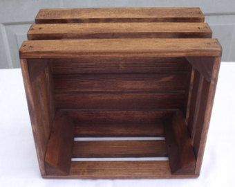 Reclaimed Wooden Storage Crate With English Chestnut Finish, Wedding Decor, Home Decor, Kitchen Decor