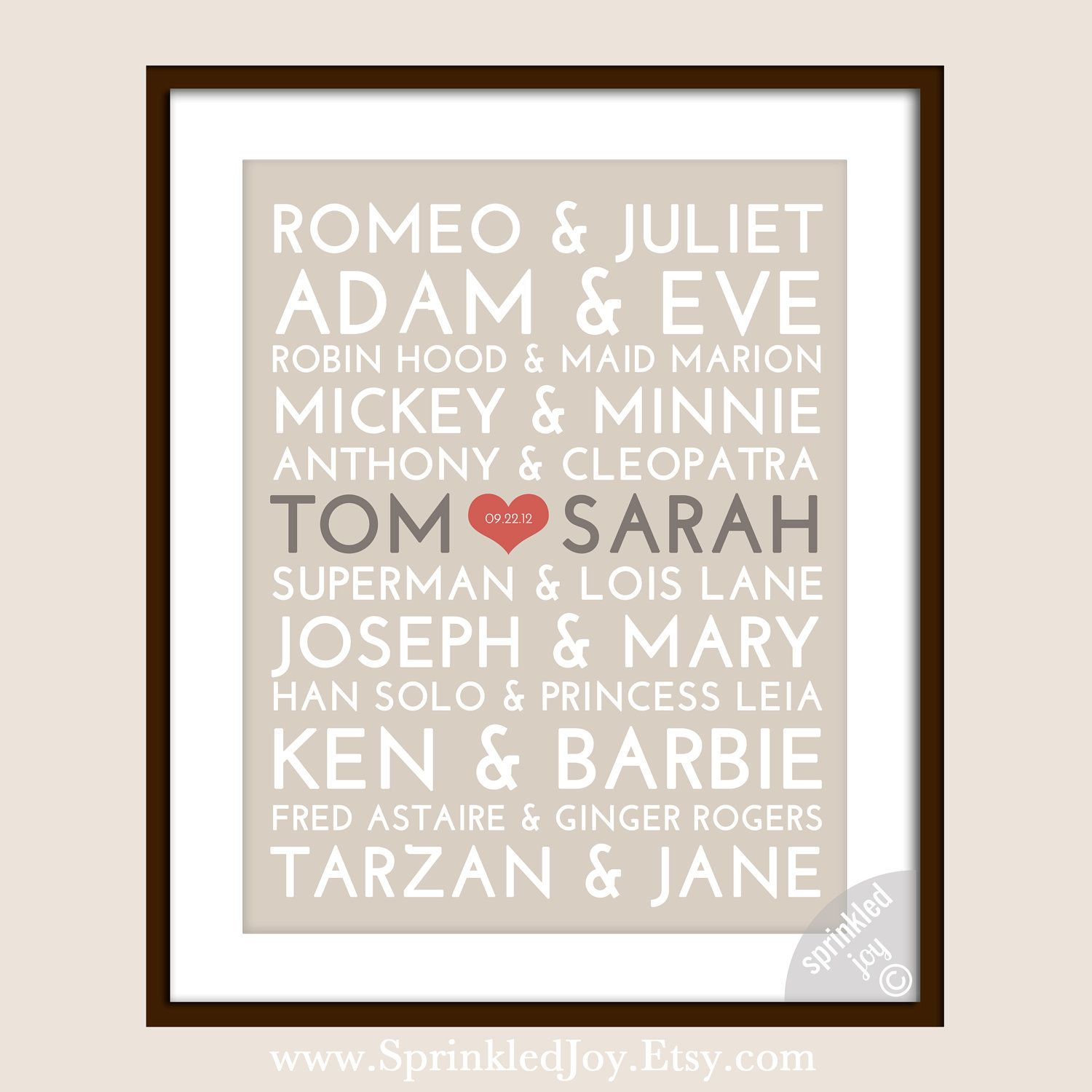 this (with YOUR names ;-) in an 8X10 in an ikea ribba frame in black/brown. under 30 total and oh so lovely!
