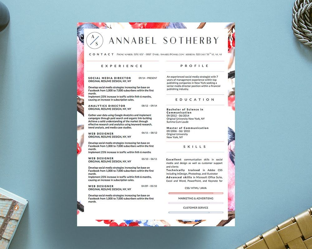 Beautiful Resume Templates Creative Resume Templates For Microsoft Word  Annabel Sotherby