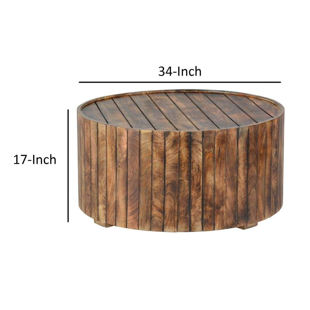 34 Inch Handmade Wooden Round Coffee Table With Plank Design Burned Brown By The Urban Port Coffee Table Handcrafted Coffee Table Round Coffee Table [ 1024 x 1024 Pixel ]