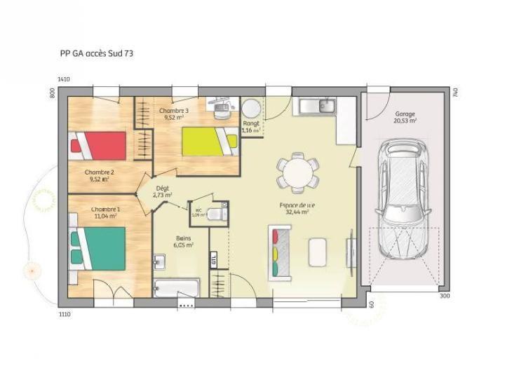 Plan de maison Open Nord PP GA accès Sud 73 so chic  Vignette 1 - plan de maison 100m2