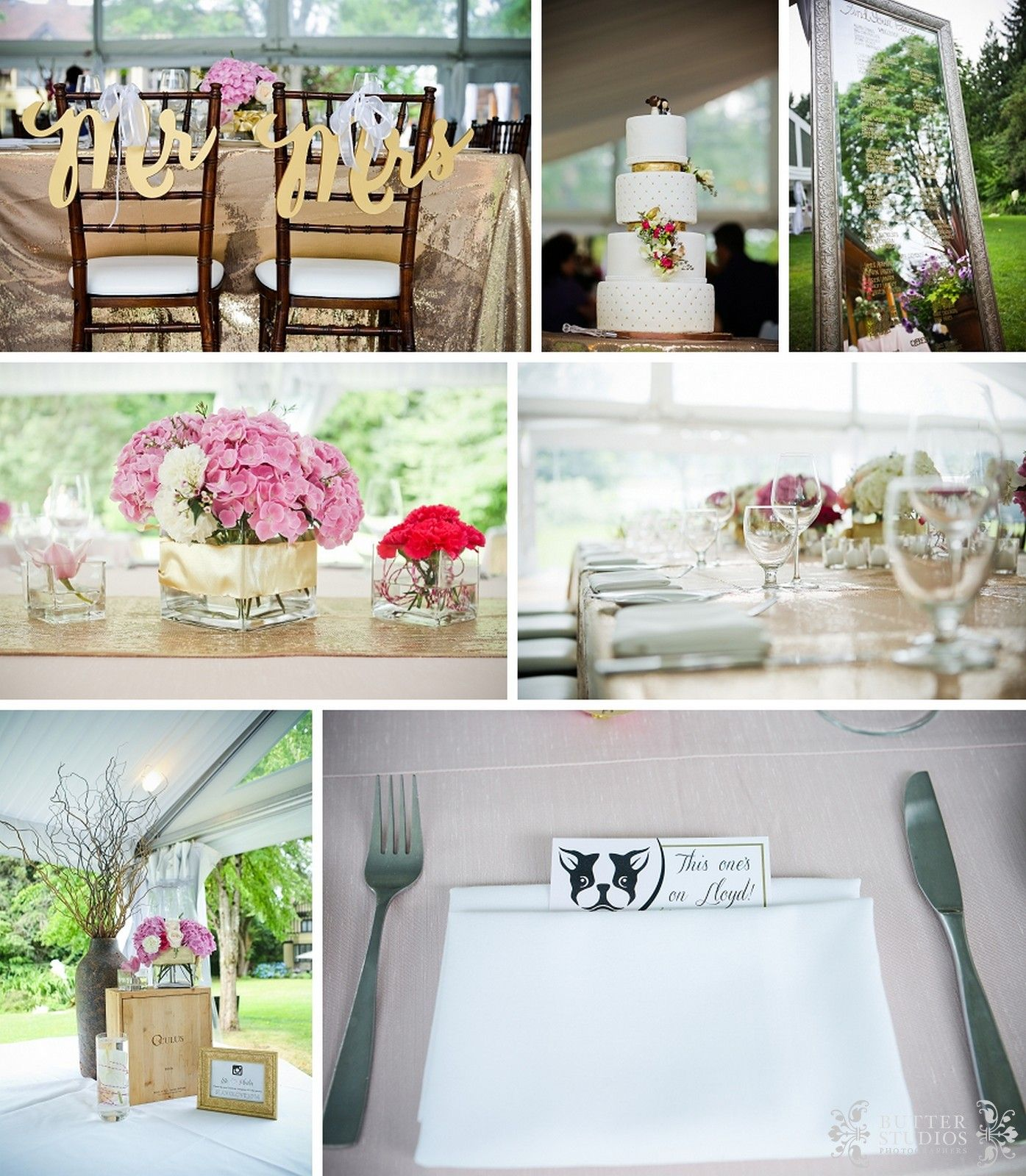 Reception decor - gold, blush, cake, mr and mrs, head table chair ...