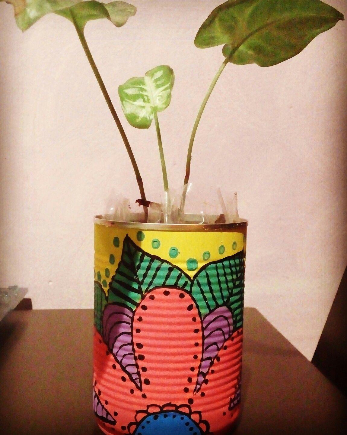 #mandala #maceta #planta #lata #maceta #colours #color #amopintar