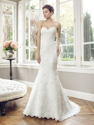 strapless slim a-line gown.