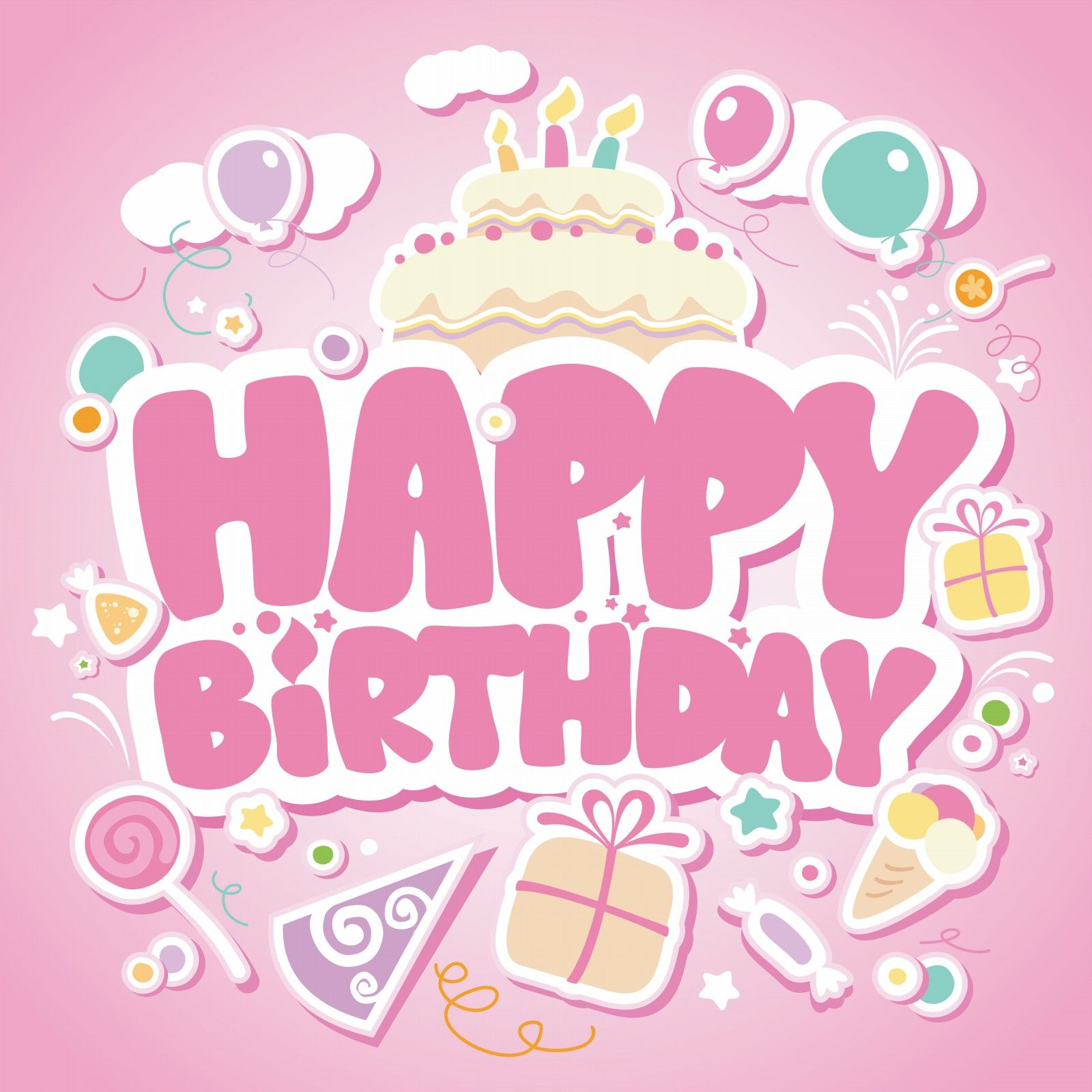 Happy Birthday pink card for girls Dodo Pinterest