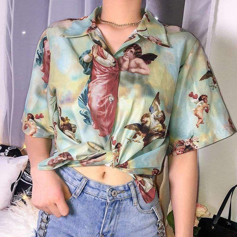 Gods Angel Shirt Button Up Shirt Womens Streetwear Women Angel Shirt