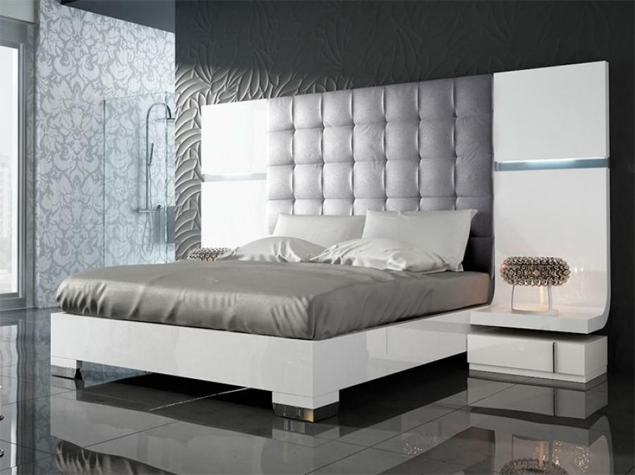 Fenicia Modern Gloss White Bed with 2 Bedside Cabinets and Lighting ...