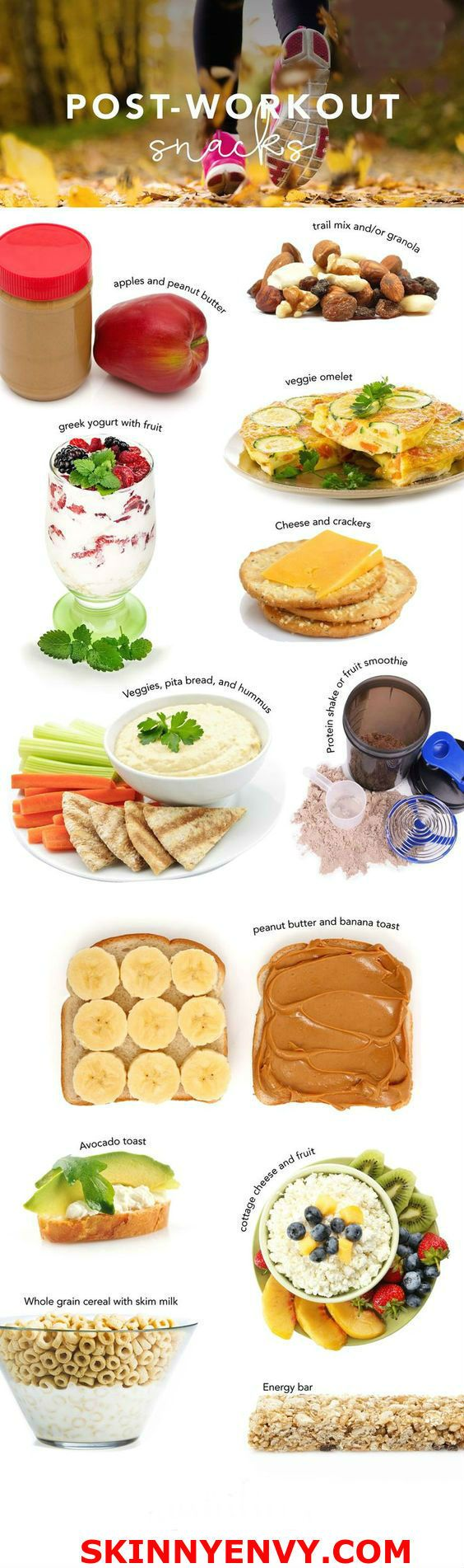 12 Healthy Post-Workout Snacks! Great options for refueling your muscles! Quick & easy ideas! VISIT skinnyenvy.com for more! #postworkoutsnacks #slimdown