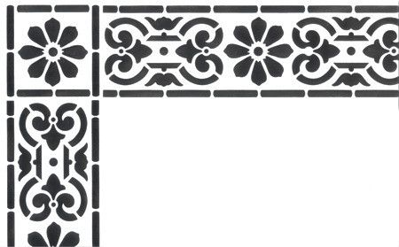 Classical Border Corner Stencil In 2020 Floor Stencils Patterns Stencils Wall Stencils