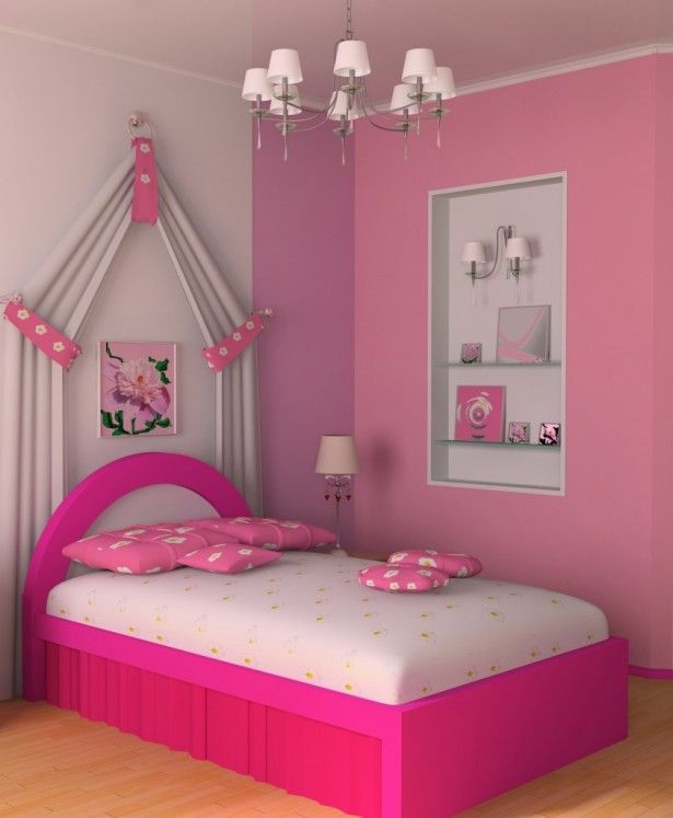 Charming Kids Bedroom Decorating Ideas For Girls: Astounding Kids Exclusive  Pink Bedroom Decorating Ideas For Little Girls Room 615x747 ~  Articature.com ...