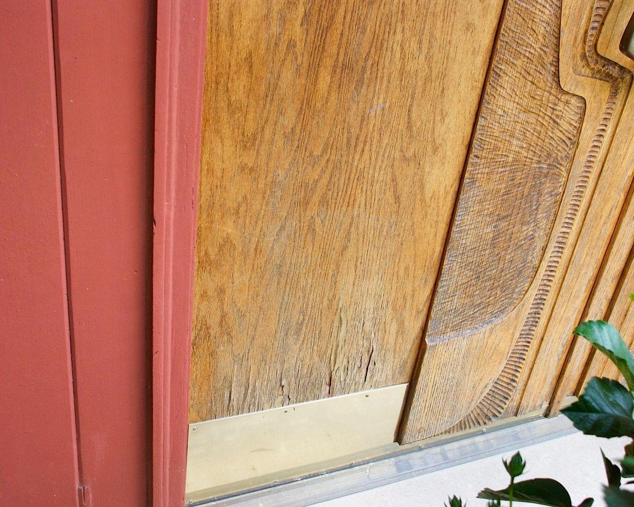 How To Repair Water Damaged Oak Veneer Wood Exterior Door Exterior Doors Oak Exterior Doors