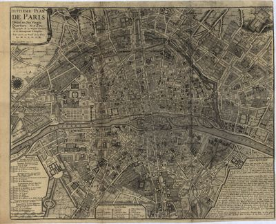 Paris  France map 1700s  antique rare map  royalty free  clip art     Paris  France map 1700s  antique rare map  royalty free  clip art