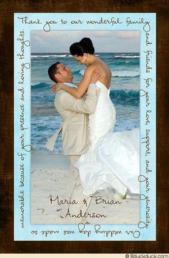 Handwriting Blue Brown Beach Wedding Thank You