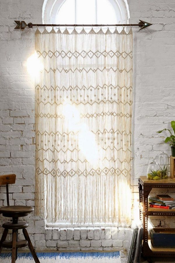 Rideaux crochet hippie romantique mur macramé de briques blanches ...