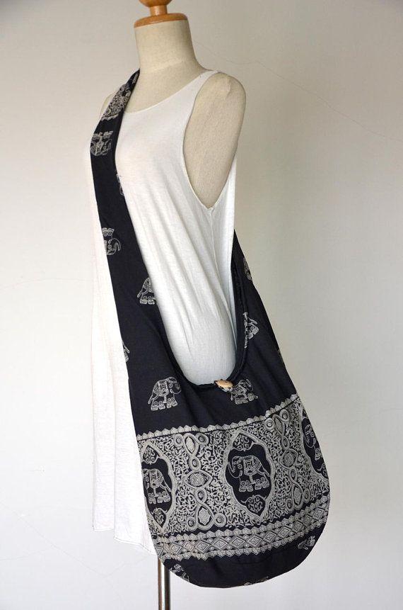 32d11ef758067 Black Elephant Bag Hippie Hobo Bag Sling Crossbody Bag Boho Bag Shoulder Bag  Messenger Bag Cotton Ba