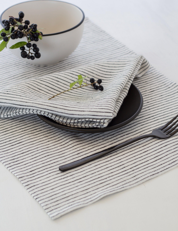 Modern Linen Placemats Set White And Black Stripe Scandinavian Etsy Modern Linens Linen Placemats Black Placemats