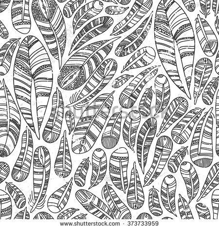 Ethnic feathers Seamless Pattern. Hand Drawn Feathers. Decorative zentangle feathers. - stock vector