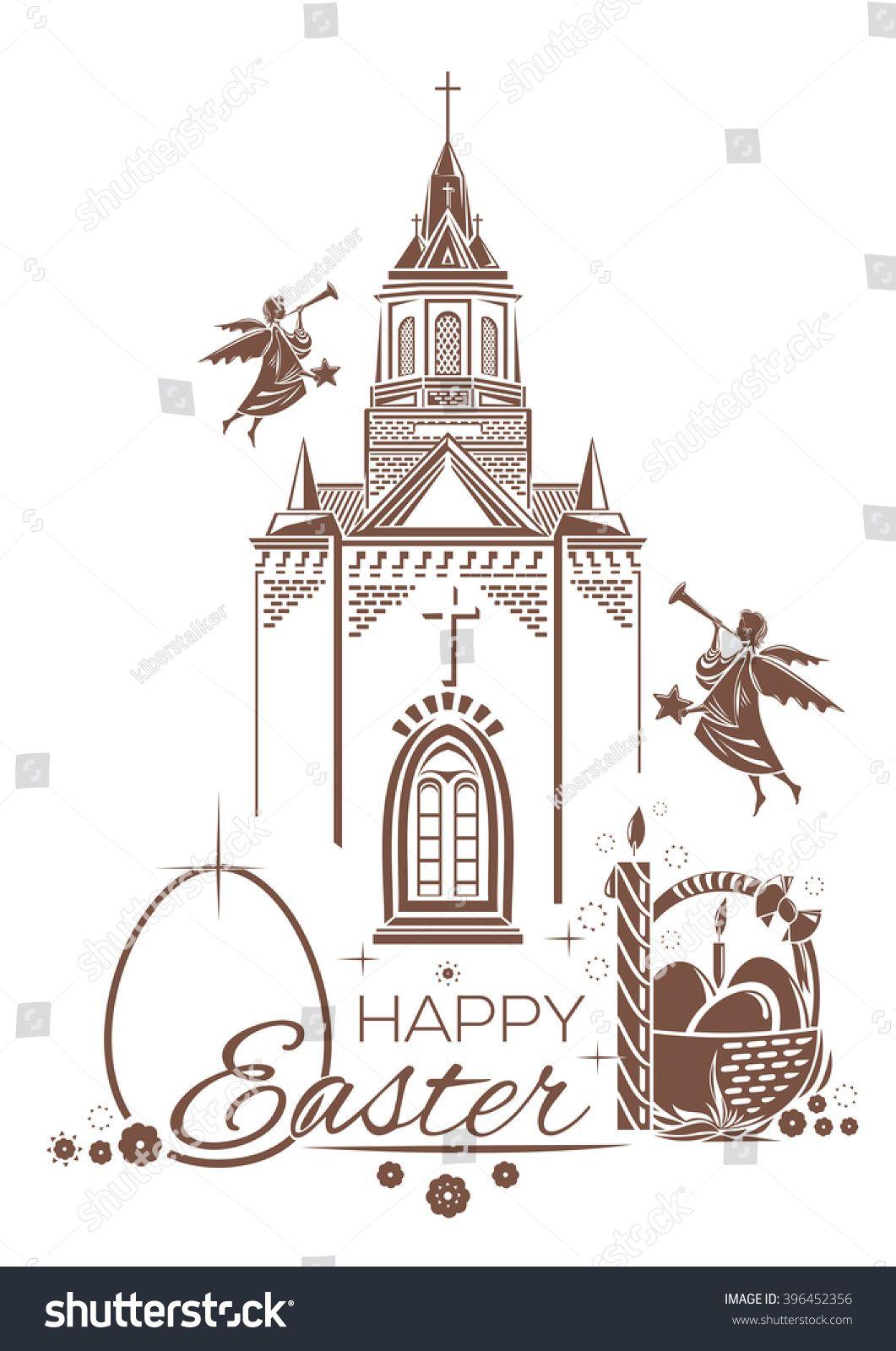 Catholic Church Burning Candle Basket Of Easter Eggs Angels Blow