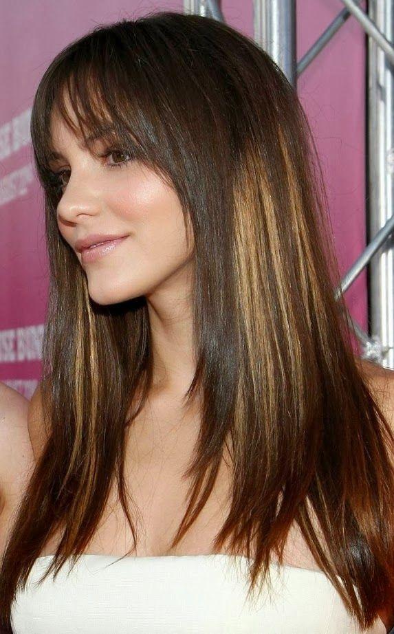estilos y peinados de moda cortes de pelo largo en capas con flequillo verano