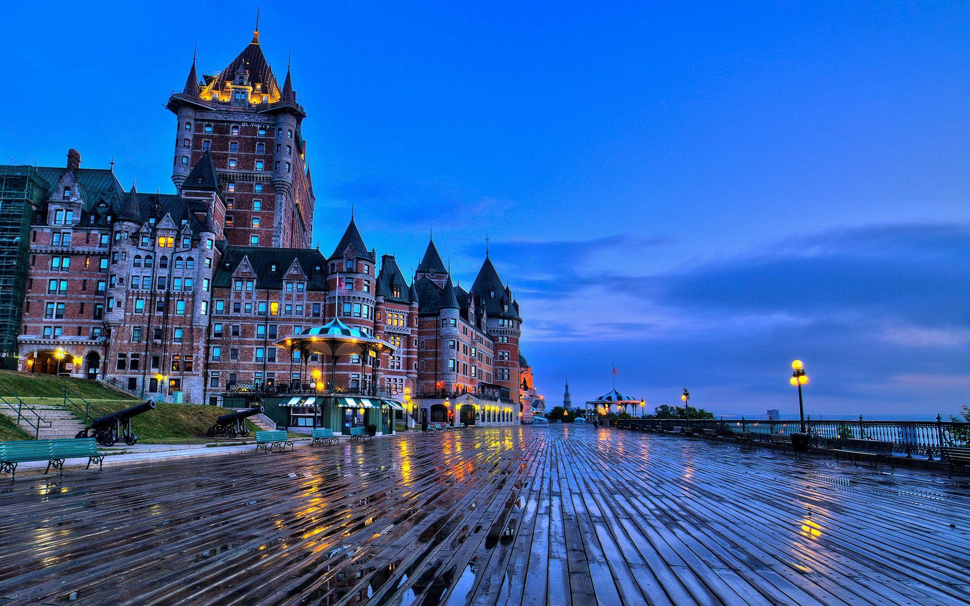 ケベック カナダ シャトーフロントナック城 ベンチ 夕方 壁紙 19x10 壁紙ダウンロード ケベック カナダ シャトー