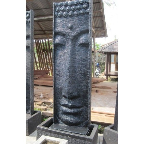 Large Buddha Head Fountain: Large Vertical Fountain With
