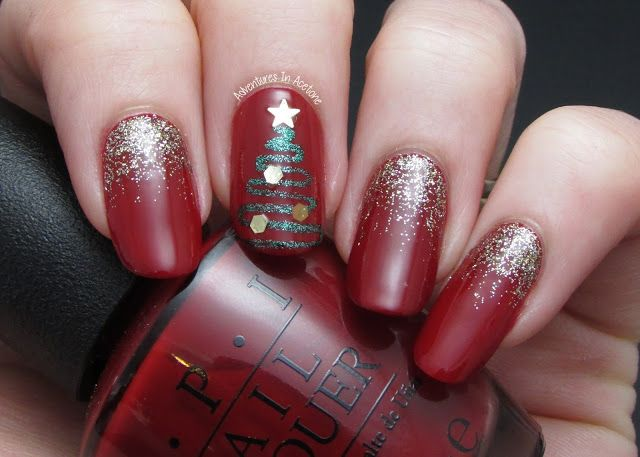 The Digit Al Dozen Does Red Gold And Green Day 2 Abstract Christmas Tree Adventures In Acetone Cute Christmas Nails Christmas Nail Designs Tree Nails