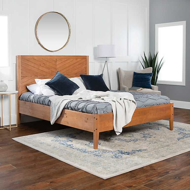 Caramel Solid Wood Queen Bed Platform Bed Designs Queen Size