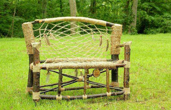 Dream Catcher Mini Bench No40 Recycled Tree Limb Furniture Rustic Custom Dream Catchers Furniture