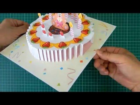 Happy Birthday Cake 2 PopUp Card Tutorial YouTube – Birthday Cake Pop Up Card