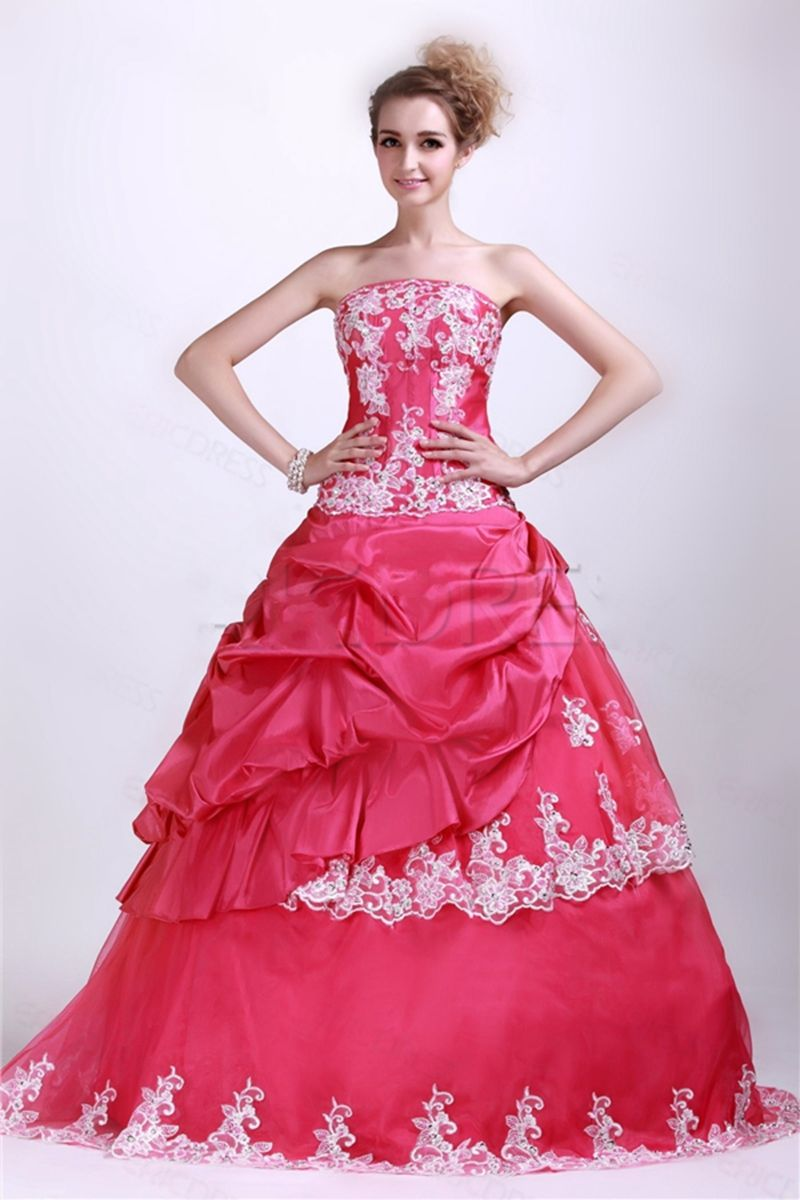 Long sweet taffeta red debutante scoop appliques floorlength lace