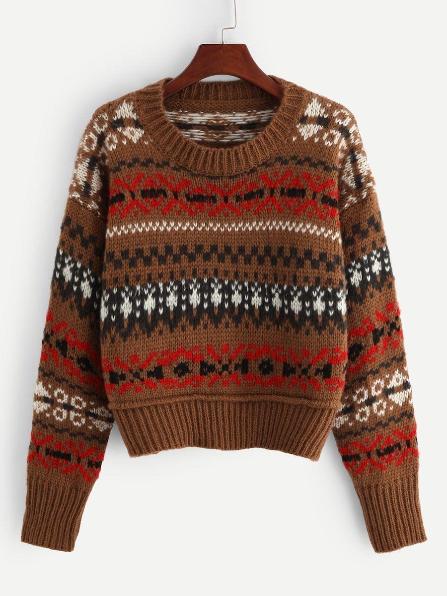 Ribbed Knit Hem Geo Sweater SheIn(Sheinside) in 2020