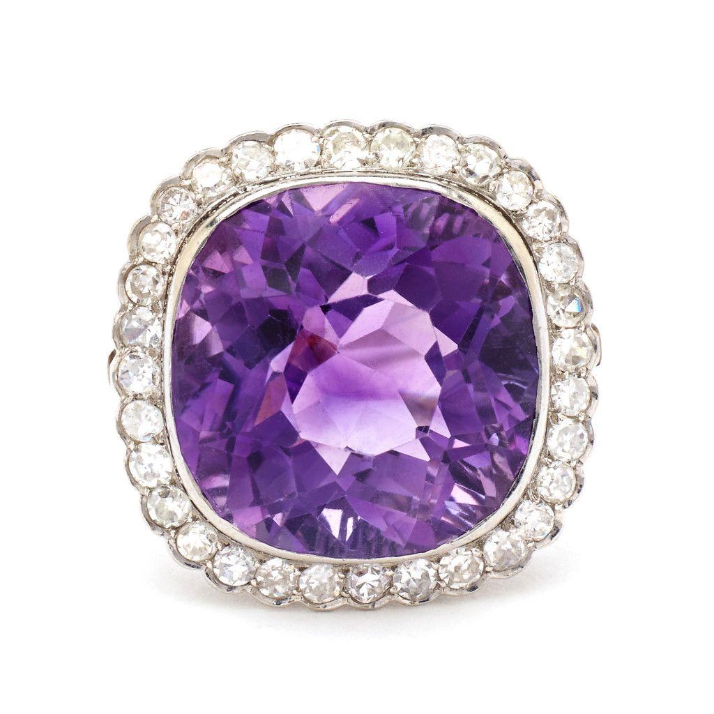 Vintage Edwardian 35.00 Carat Amethyst & Diamond Ring