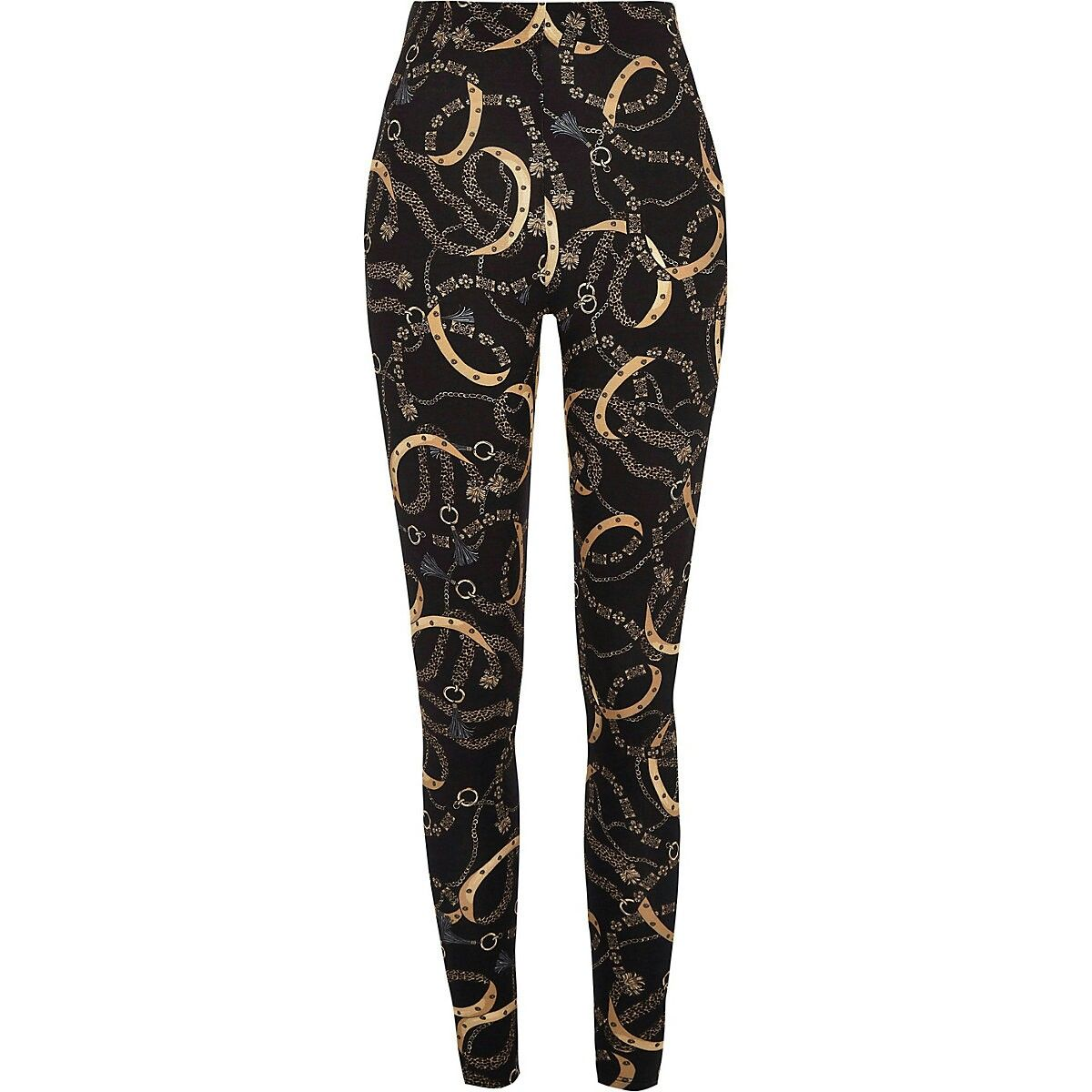 a441ab8a07 Black chain print leggings   Leggings in 2019   Printed leggings ...