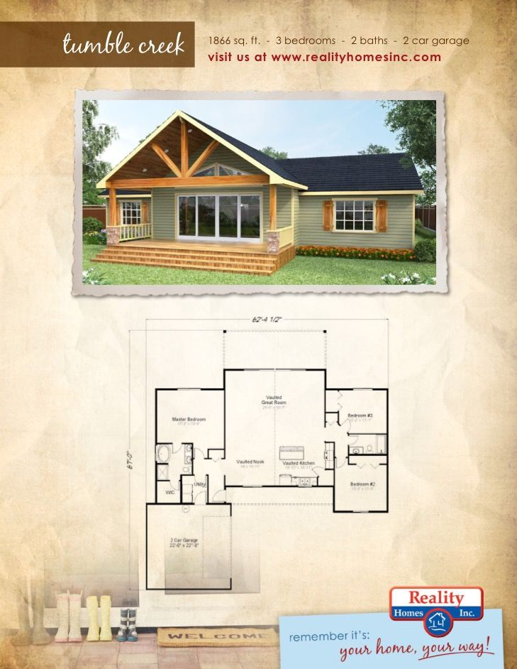 1866 Square Foot Tumble Creek Floor Plan 3 Bedroom 2 Bathroom 2 Car Garage House Plans Custom Built Homes Building A House