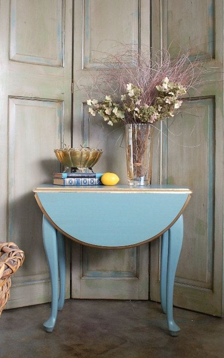 Small Round Table Oval Blue Side Table End Table 1920s