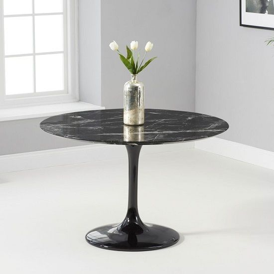 Trejo Round Marble Table In Black Gloss With Pedes