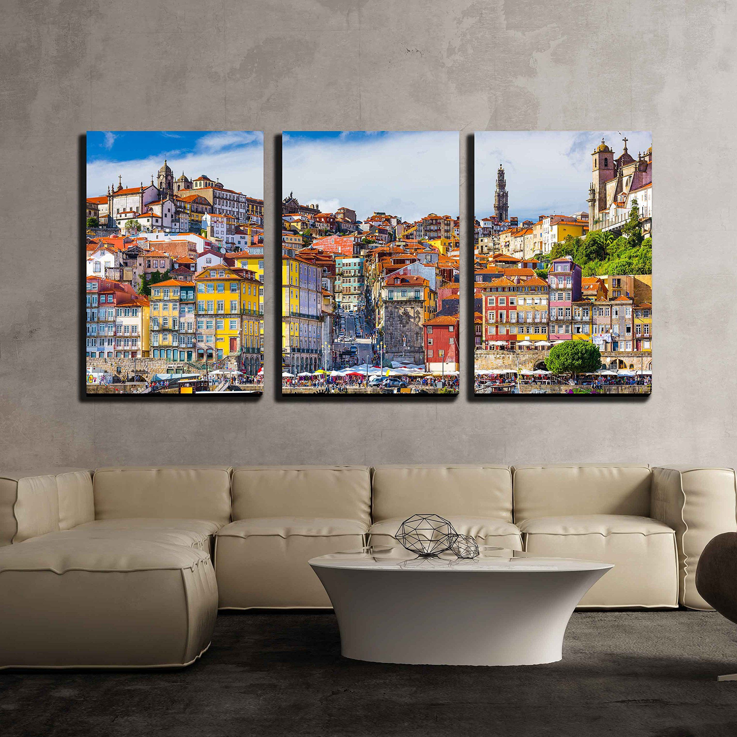 Wall26 3 Piece Canvas Wall Art Porto Portugal Old Town Skyline From Across The Douro River Modern Home Decor Stretched Home Remodeling Art Wall Home Decor