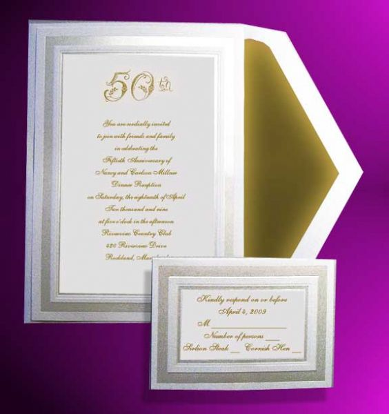 Anniversary Invitations 50th | 50th Wedding Anniversary Invitations And  RSVP Cards